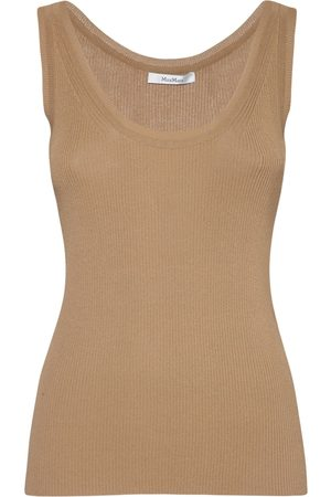 Max Mara Ribbed Viscose Crepe Sleeveless Top