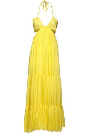 ALEXANDRE VAUTHIER Silk Charmeuse Long Dress W/cut Outs