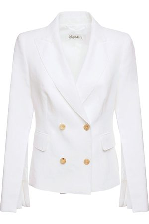 Max Mara Linen Canvas Double Breasted Blazer