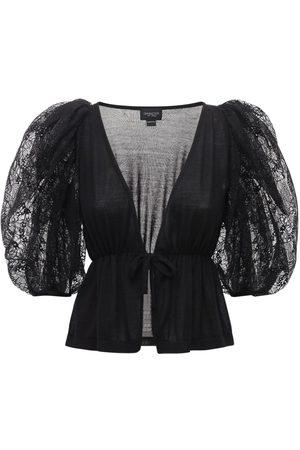 Giambattista Valli V Neck Wool & Silk Top W/ Puff Sleeves