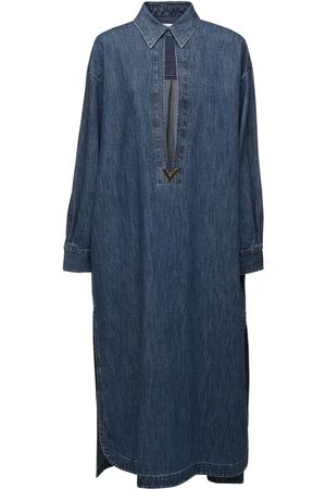 VALENTINO Wool Denim Caftan Dress