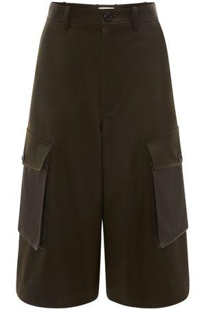 J.W.Anderson Wool Gabardine Wide Leg Cargo Shorts