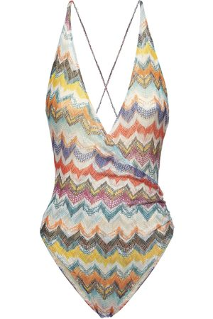 Missoni Printed Deep V Neck One Piece Swimsuit