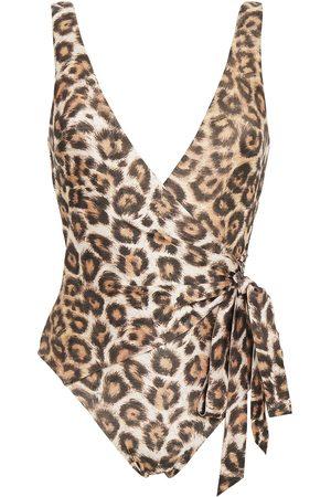 ZIMMERMANN Woman Bonita Leopard-print Wrap-effect Swimsuit Animal Print Size 0