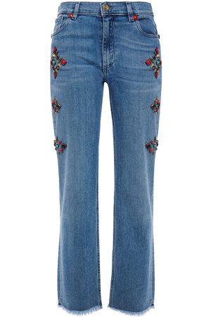 Etro Woman Frayed Studded High-rise Straight-leg Jeans Mid Denim Size 26