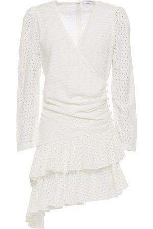 Rhode Women Asymmetrical Dresses - Woman Lola Asymmetric Broderie Anglaise Cotton Mini Dress Ivory Size L