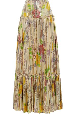 Etro Women Printed Skirts - Woman Pleated Metallic Floral-print Silk-blend Jacquard Maxi Skirt Size 38