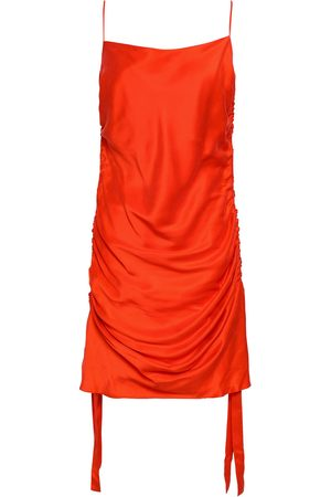 ZIMMERMANN Women Party Dresses - Woman Ruched Silk-satin Mini Dress Bright Size 2