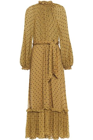ZIMMERMANN Women Midi Dresses - Woman Gathered Swiss-dot Silk-georgette Midi Dress Army Size 0