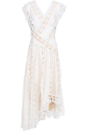 ZIMMERMANN Women Asymmetrical Dresses - Woman Moncur Asymmetric Broderie Anglaise Cotton And Gauze Dress Ivory Size 0