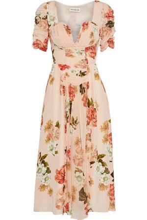 Nicholas Woman Ruffle-trimmed Ruched Floral-print Silk-georgette Midi Dress Blush Size 0