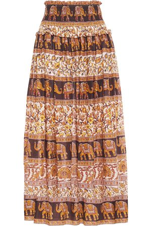 ZIMMERMANN Women Printed Skirts - Woman Shirred Printed Cotton Midi Skirt Size 1