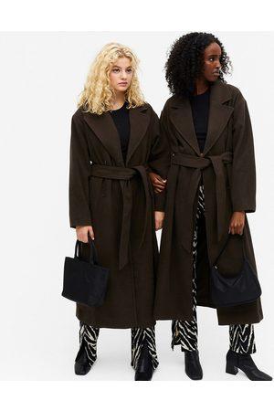 Monki Brix oversized coat with belt in