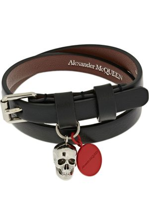 Alexander McQueen Graffiti Leather Double Wrap Bracelet