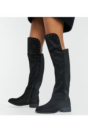 Simply Be Extra wide fit knee high flat boot in