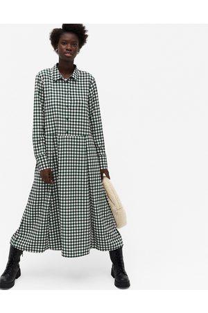 Monki Ada gingham print midi shirt dress in