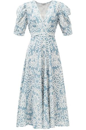 D'ASCOLI Women Printed Dresses - Dasha Floral-print Cotton-khadi Midi Dress - Womens