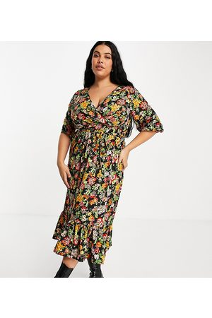 Yours Wrap front midi dress in floral print-Multi