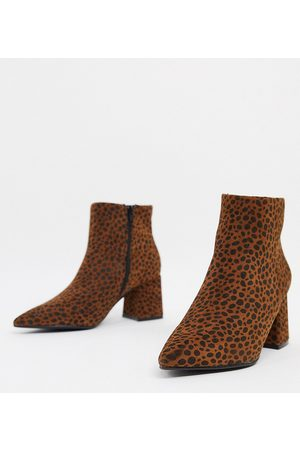 Simply Be Wide fit heeled boot in leopard print-Multi