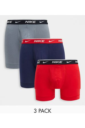 Nike 3-pack cotton stretch boxer briefs with fly in navy/gray/red-Multi