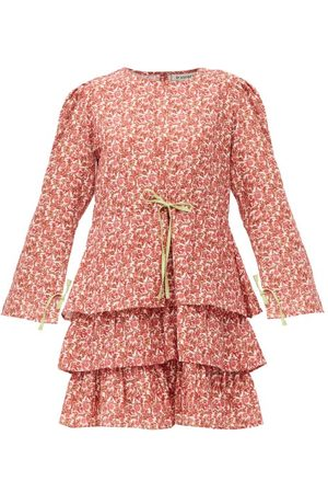 D'ASCOLI Zuzu Drawstring Floral-print Cotton-khadi Dress - Womens