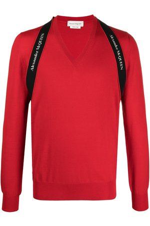 Alexander McQueen Logo strap V-neck jumper