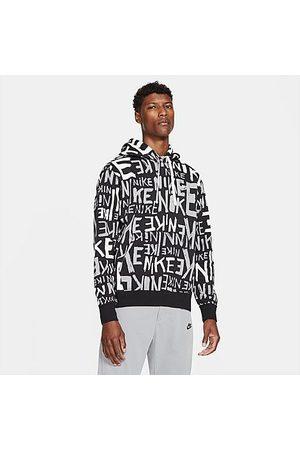 Nike Men's Sportswear Allover Hand-Drawn Logo Club Fleece Hoodie