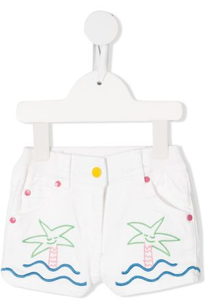 Stella McCartney Embroidered short denim shorts