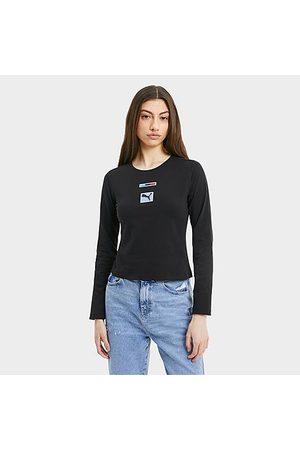 PUMA Women's BMW M Motorsport Street Long-Sleeve T-Shirt in Black/ Black