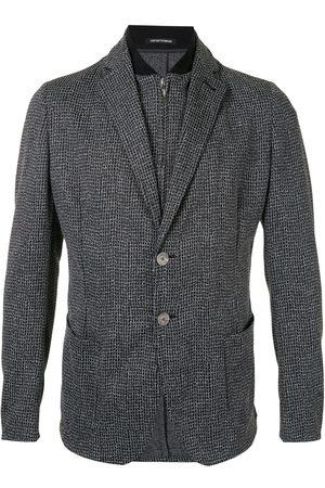 Emporio Armani Check print layered-look blazer - Grey