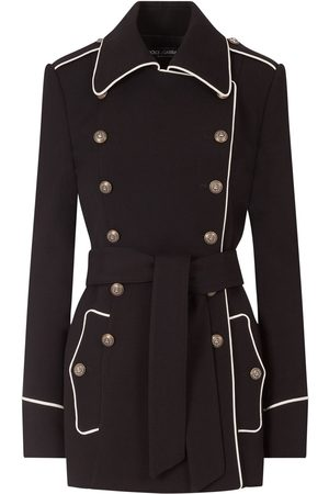Dolce & Gabbana Contrast-piping woollen peacoat