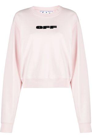OFF-WHITE Women Sweatshirts - Flocked logo cotton sweatshirt
