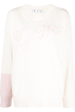 OFF-WHITE Embroidered-logo colour-block jumper - Neutrals