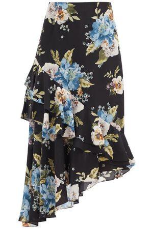 Erdem Antoinette Asymmetric Carnation-print Silk Skirt - Womens - Print