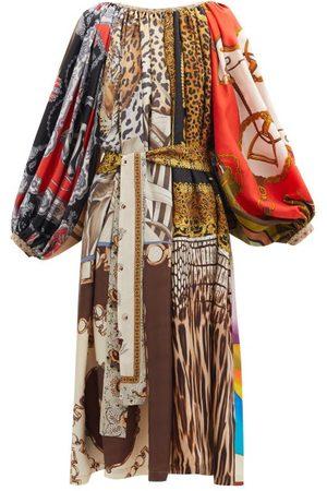Rianna + Nina Patchwork Gathered-neck Vintage-silk Dress - Womens - Multi