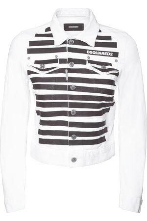 Dsquared2 Zebra Print Stretch Cotton Denim Jacket