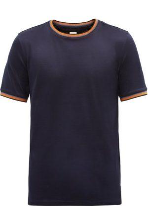 Paul Smith Artist-stripe Crew-neck Cotton-jersey T-shirt - Mens - Navy