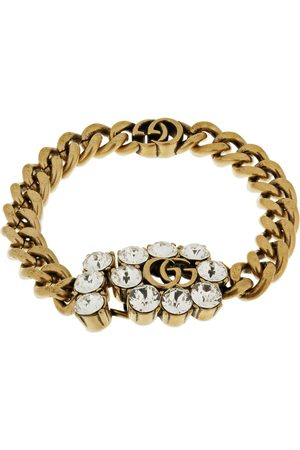 Gucci Gg Marmont & Crystal Chain Bracelet