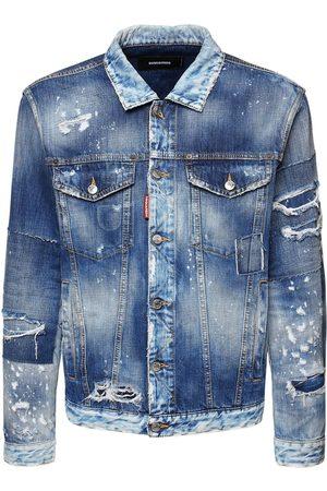 Dsquared2 Oversize Distressed Cotton Denim Jacket