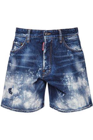 Dsquared2 36cm Boxer Cotton Denim Shorts