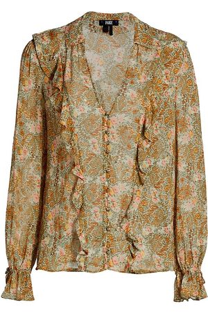 Paige Women's Tessa Ruffled Floral Silk Blouse - - Size Small