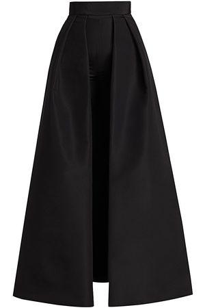 Alexia Maria Women's Convertible Collection Silk Faille Cigarette Pants With Convertible Skirt - - Size 12