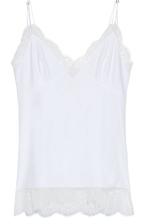Khaite Women Camisoles - Woman Carrie Chantilly Lace-trimmed Cotton-poplin Camisole Size L