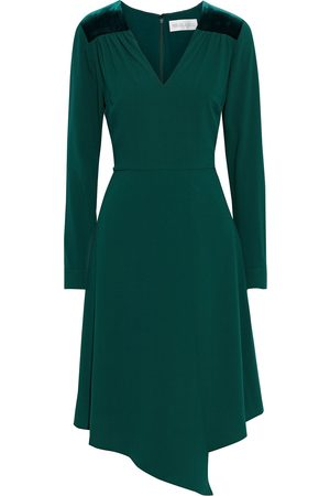 MIKAEL AGHAL Woman Asymmetric Velvet-trimmed Crepe Dress Emerald Size 10