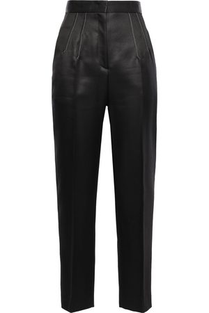 Emilio Pucci Woman Pleated Wool And Silk-blend Satin Tapered Pants Size 38