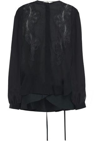 ANTONIO BERARDI Woman Lace-trimmed Poplin-paneled Silk-chiffon Peplum Shirt Size 40