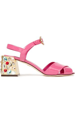 Dolce & Gabbana Woman Crystal-embellished Patent-leather Sandals Bubblegum Size 35.5