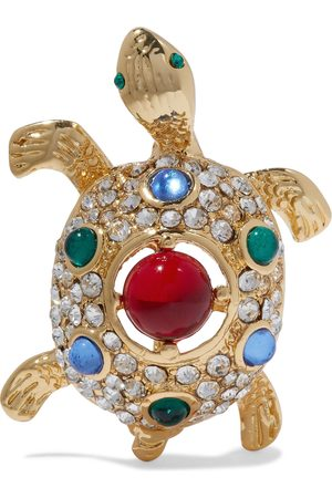 Kenneth Jay Lane Woman Gold-tone Crystal And Resin Brooch Size
