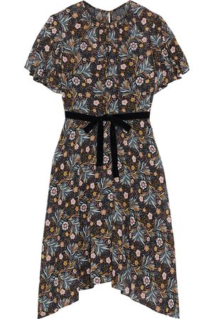 MIKAEL AGHAL Woman Asymmetric Velvet-trimmed Printed Crepe De Chine Dress Size 10