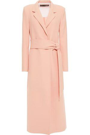 ROLAND MOURET Women Coats - Woman Selwood Belted Wool-crepe Coat Blush Size 10